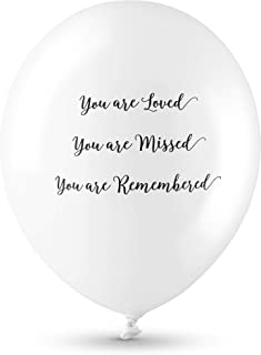ANGEL & DOVE 25 Premium White 'You are Loved, Missed, Remembered' Biodegradable Funeral Remembrance Balloons - for Memory Table, Memorial, Condolence, Anniversary