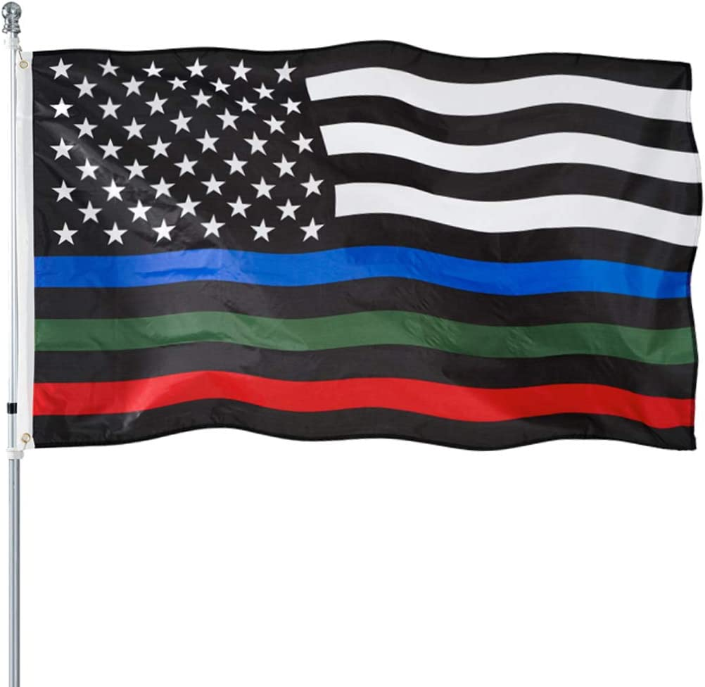 Thin Blue Manufacturer direct delivery Green and Red Rare Line Flag Duty American 3x5- Heavy Polye