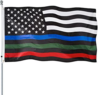 Best Thin Blue Green and Red Line American Flag 3x5- Heavy Duty Polyester American Blue Red Green Stripe All Lives Matter Police Firefighter Military Flags Banner Law Enforcement Police Fireman Army Flag Review