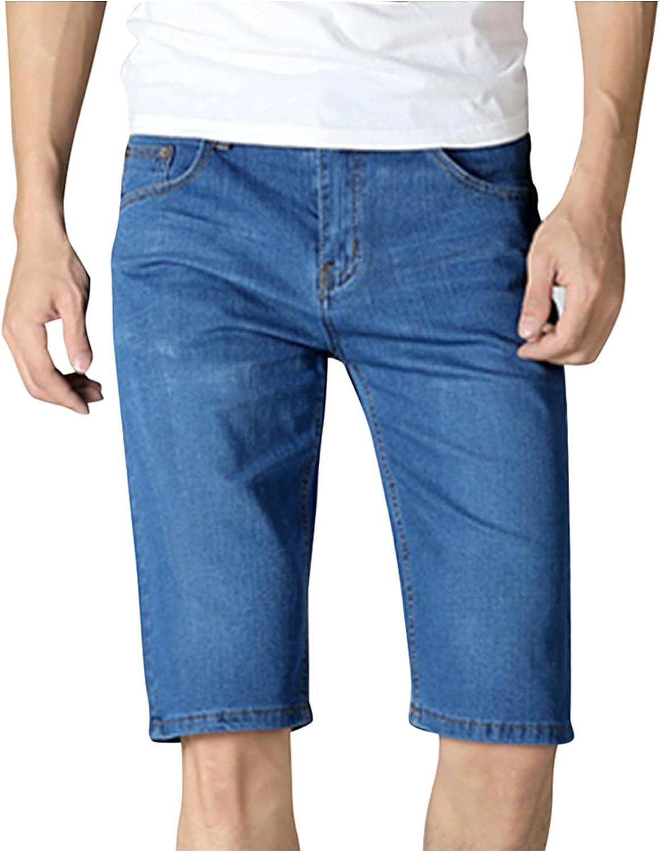 Men Summer Solid Light Washed Standard Fit Knee Length Denim Jeans Casual Shorts