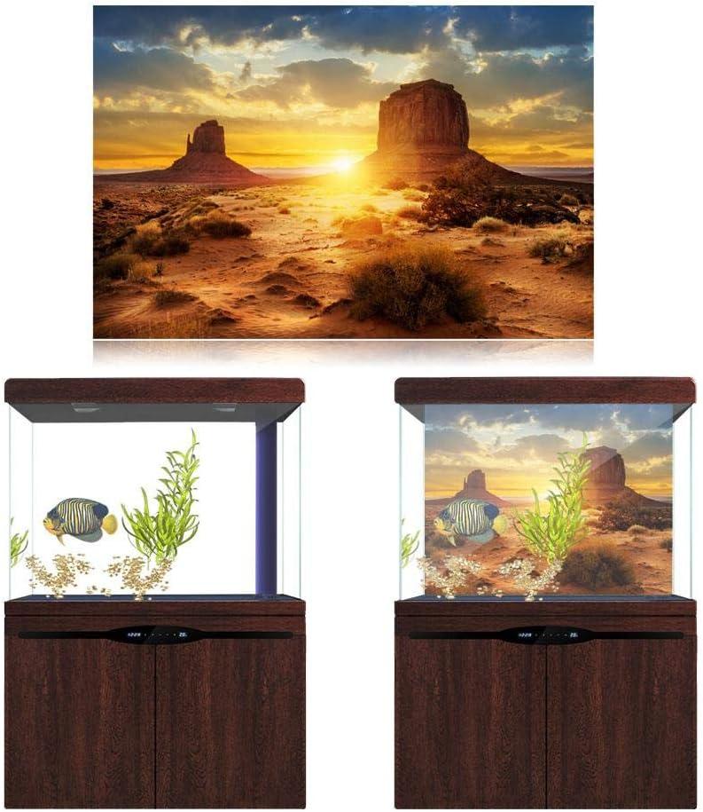 Aquarium Fish Tank Background Poster Sun and Desert Style PVC Adhesive Decor Paper Sticker 122*50cm