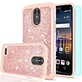 LG Stylo 3 Case, LG Stylo 3 Plus/Stylus 3 Case with Tempered Glass Screen Protector [2 Pack], LeYi Hybrid Heavy Duty Protection Glitter Girls Women Shockproof Phone Case for LG LS777 TP Rose Gold