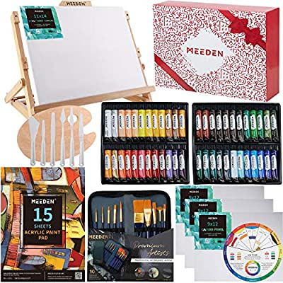 MEEDEN 72-Piece Acrylic Painting Set with Beech Wood Table Easel, 48×22ML Acrylic Paint Set and All Additional Supplies, Artist Painting Tools Kit for Beginning Artists, Students and Kids