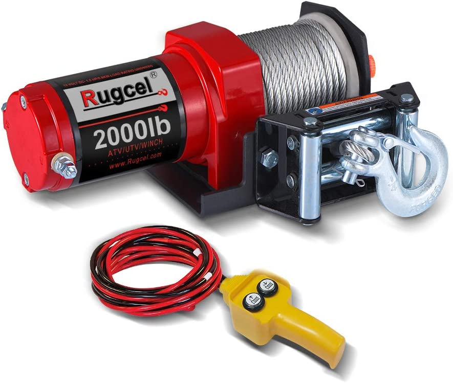 Rugcel Electric 12V 2,000lb Single Line Waterproof Winch