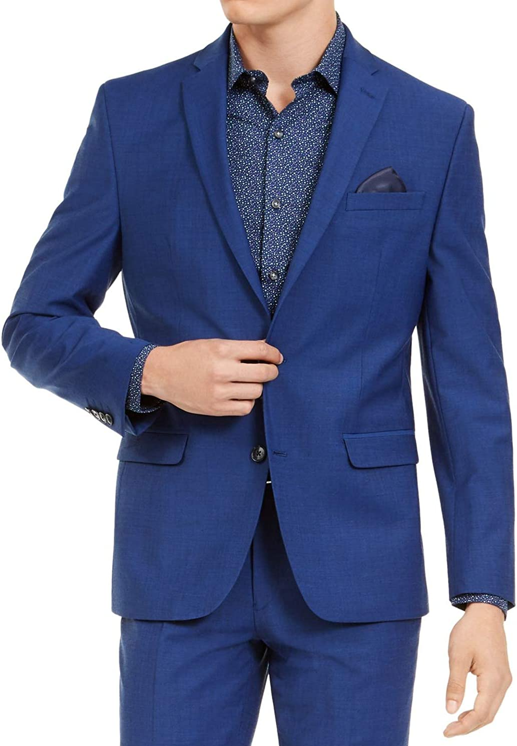 bar III Men Suit Jacket S Slim Fit Active Stretch Blazer Blues