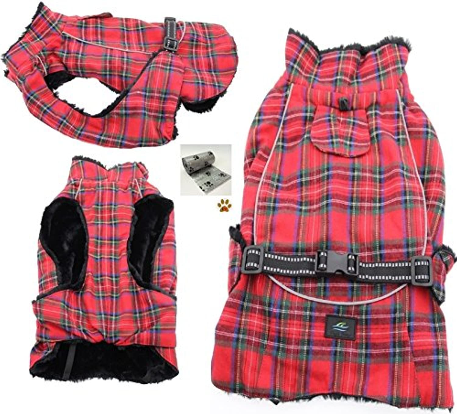 Alpine Cold Weather Flannel Plaid Fur Lined Pinned Dog Coat with Bags Set  (XL  Chest 2126 , Neck 1821', Back 18 L, Red Green)