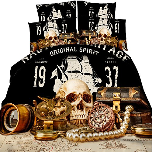 HyUkoa Bedding Nautical Map and pirate Ship Treasures Skull Pattern Bedding Teens/Adult/Boys Bedclothes 3 Piece(1pc Duvet Cover+2pc Pillowcase) Queen Size