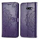 Bear Village Hülle für LG G8X ThinQ/LG G8X, PU Lederhülle Handyhülle für LG G8X ThinQ/LG G8X, Brieftasche Kratzfestes Magnet Handytasche mit Kartenfach, Violett