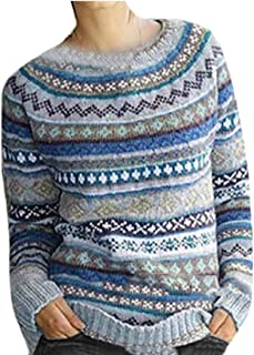 Macondoo Womens Fall Winter Pullover Jumper Knit Flower Printed Sweater