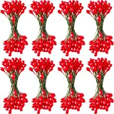 Patelai 800 Pezzi Artificiale Bacche Agrifoglio Mestiere Bacche Steli per Natale Mastrimonio Casa Ornamenti (Rosso)
