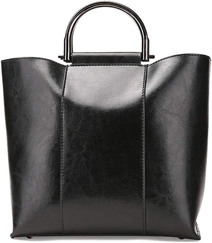 Huasen Evening Bag TopHandle Bags Handbag Leather Casual Simple Lady Shoulder Bag Oil Wax Handbag Street Shopping Travel Party Handbag (color   Black)