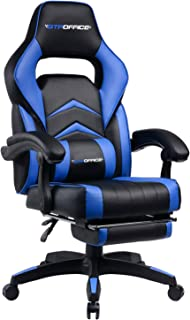 Gaming Chair Racing Style Reclining Office Swivel Computer Desk Chair Ergonomic Conference Executive Manager Work Chair PU Leather High Back Adjustable Task Chair with Lumbar and Padded Footrest