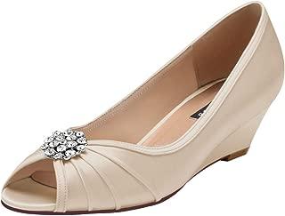 ERIJUNOR Womens Comfortable Low Heel Wedge Wedding Shoes