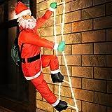 Deuba LED Weihnachtsmann auf Leiter XXL 240cm für In-/Outdoor 8 Leuchtfunktionen Santa Claus Nikolaus Weihnachten