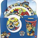 Paw Patrol - Juego de vajilla infantil con plato, cuenco para cereales y taza...