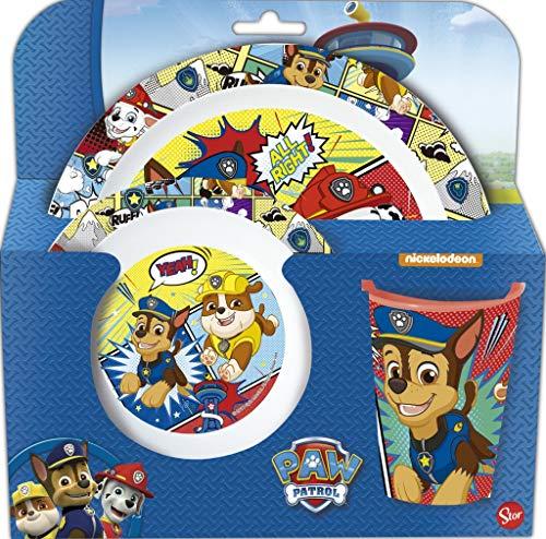 Paw Patrol, set di stoviglie per bambini, con piatto, ciotola e bicchiere