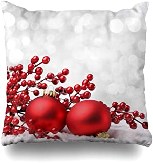 Ahawoso Throw Pillow Cover Decorative Square 20x20 Silver Holly Red Winter Christmas Baubles On Celebrate Snow Holidays Xmas White Happy Jolly Snowflake Zippered Pillowcase Home Decor Cushion Case