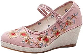 Aiweijia Ladies Buckle Floral Pattern Solid Color High Wedge Embroidered Shoes