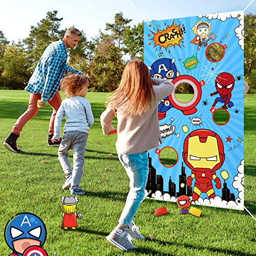 Casun Superhero Bean Bag Toss Games for Kids Ages 4-8, Superhero Indoor and Outdoor Throwing Toys for 4-8 Year Old Boys, Gifts for 4-8 Year Old Girls Birthday or Christmas with 4 Bean Bags