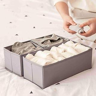 AooYo アストロ 収納ボックス 2段 下着収納ボックス 引き出し収納用 折り畳み 布 2個セット 引き出し仕切り おしゃれ 小物 靴下 ネクタイ収納 小物入れ 卓上 洗濯可能 28x13x10cm 灰色