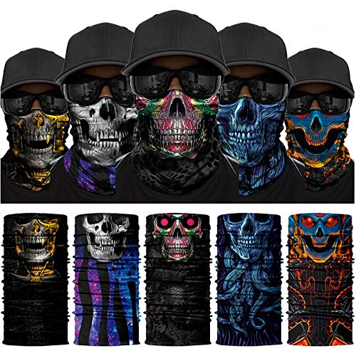 Venswell 3D (5 Pack) Skull Face Mask, Neck Gaiter for Men Women, Seamless Face Bandanas Mask, Face Scarf, Magic Headbands -Sun Dust Wind Protection-Motorcycling Cycling Fishing Halloween Festival