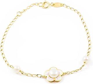Bracelet Enfant marguerite et perle émail Or Jaune 9 Carats