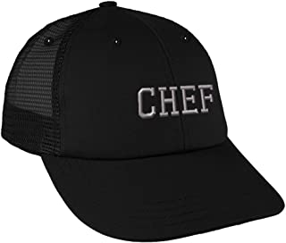 Silver Letters Chef Embroidery Design Low Crown Mesh Golf Snapback Hat Black