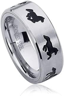 Prime Pristine 8mm Stainless Steel Wedding Band Ring for Men & Women Running Horse Engraved Ring for Men & Woman