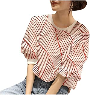 Fyuanmeiinsdxnv Womens tops summer Red Striped Blouses Ladies Summer Thin Short-sleeved Shirts Puff Sleeve Sleeve Loose Wo...