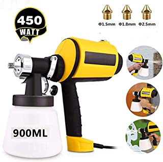 Homdox Paint Sprayer High Power HVLP Home Electric Spray Gun 3 Spray Patterns, 3 Nozzle Sizes, Adjustable Valve Knob, 900ML Detachable Container,6.5ft Power Line (Yellow) (Yellow) (Yellow)