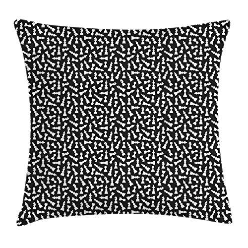 ABAKUHAUS Bordspel Sierkussensloop, Schaakstuk Silhouettes, Decoratieve Vierkante Hoes voor Accent Kussen, 60 cm x 60 cm, Zwart en wit