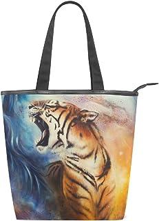 alaza Tote Canvas Schultertasche Tiger-Malerei-Handtasche