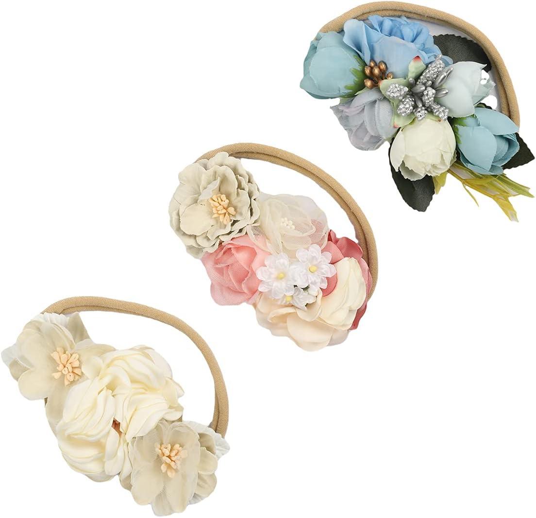 NiuZaiz 3Pcs Baby Flower Crown Headbands, Newborn Nylon Elastic Handmade Hair Band, Toddler Girls Headwrap Turban Hair Accessories (Blue Set)