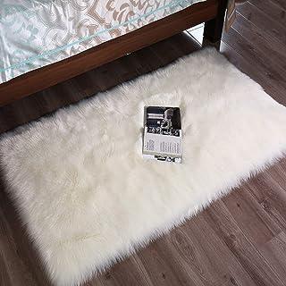 DQMEN Piel de Cordero Oveja/Sheepskin Rug Cordero, imitación mullida Alfombras imitación Piel sintética Deko Piel,para salón Dormitorio baño sofá Silla cojín (Blanco, 60 X 90cm)
