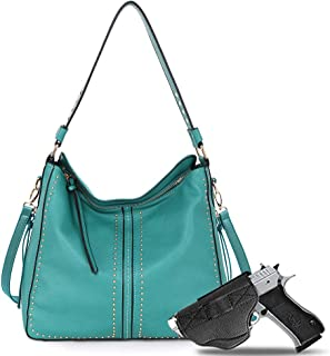 Large Concealed Carry Handbag and Purse For Women Designer Ladies Hobo Bag Faux Leather With Crossbody Strap and Gun Holster