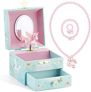 Kids Musical Jewelry Box for Girls with Drawer and Jewelry Set with Magical Unicorn - Blue Danube Tune Blue