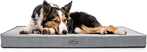 Pecute Cuscino Cane Grande in Memory Foam (101 * 69 * 7 CM Grigio), Materassino per Cani Sfoderabile Lavabile, Tappet...