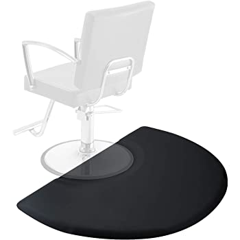 Saloniture 3 ft. x 4 ft. Salon & Barber Shop Chair Anti-Fatigue Mat - Black Semi Circle - 1 in. Thick
