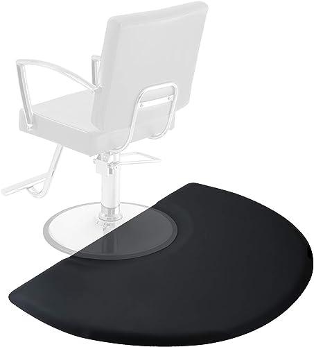 Saloniture 3 ft. x 4 ft. Salon & Barber Shop Chair Anti-Fatigue Mat - Black Semi Circle - 1 in. Thick