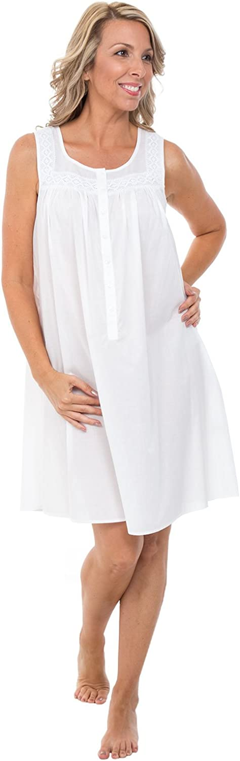 Alexander Del Rossa Womens 100% Cotton Lawn Nightgown, Sleeveless Scoop Neck Sleep Dress
