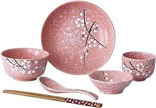 طقم أدوات مائدة خزفي ياباني 6 قطع من BESTONZON طقم أدوات مائدة منزلية خزفي (وردي)