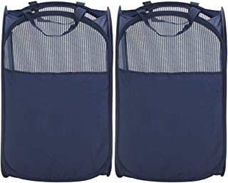 STORAGE MANIAC Pop-Up Mesh Clothes Hamper, Foldable Laundry Hamper, Side Pocket|Durable..
