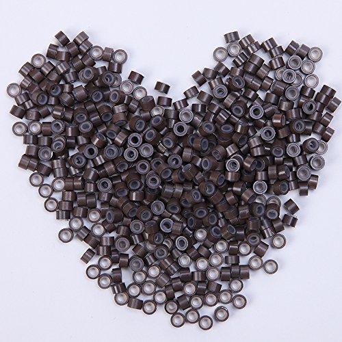 500 Stück Microrings Hair Extension Silikon Ring Beads Loops Micro für I-Tip Haarverlängerung Hellbraun
