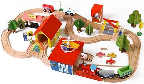 XDDQF Bloc De Construction,Blocs De Construction Jouets en Bois, Montage des Rails du Petit Train D'Enfants Puzzle Piste