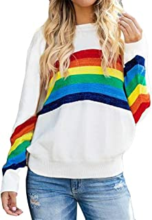FRCOLT Womens Rainbow Colorful Striped Long Sleeve Knitted Pullover Loose Sweater