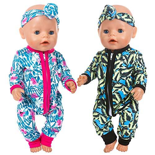 ZITA ELEMENT 2 Sets Baby Doll Kleidung Outfits Overalls mit 2 Stirnbändern für 14-16 Zoll Babypuppe, 43 cm New Born Babypuppe, 15 Zoll Bitty Babypuppe und American 18 Zoll Puppe Kleidung und Accessor