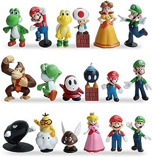 HXDZFX 20 PCS Super Mario Cake Topper Decorations,Super Mario Action Figures,Super Mario Bros Figurines Peach Princess,Daisy Princess,Coin,Brick