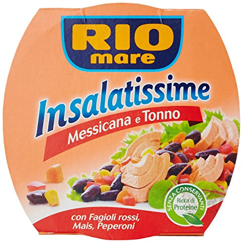 Rio Mare Insalatissime alla Messicana Tonno Pinne Gialle, Fagioli Rossi, Mais, Peperoni, Senza Conservanti, 1 Lattina da 160 g