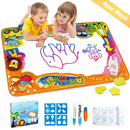 Image of the Betheaces Water Drawing Mat Aqua Magic Doodle Kids Toys Mess Free Coloring Painting Educational Writing Mats Xmas Gift for Toddlers Boys Girls Age of 2,3,4,5,6 Year Old 34.5