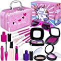 TEPSMIGO Pretend Makeup Kit for Girls, Kids Makeup Sets with Cosmetic Bag, Toddler Princess Pretend Play Toys, Birthday Party Halloween for Little Girl Age 2, 3, 4, 5+(Not Real Makeup)